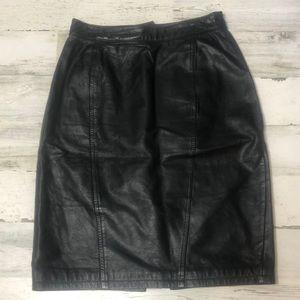 Byrnes & Baker Vintage Leather Pencil Skirt 8 Slit